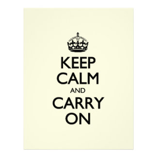 Keep Calm And Carry On - Beige Cream Color Letterhead Design