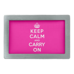 Rectangular Belt Buckle with Keep Calm and Carry On (Magenta) design