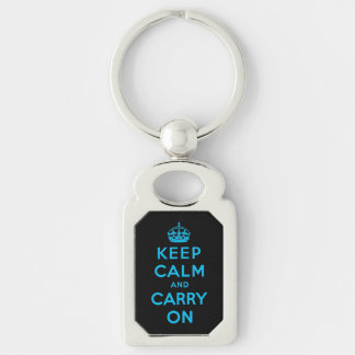 keep calm and carry on -  Black and blue Silver-Colored Rectangular Metal Keychain