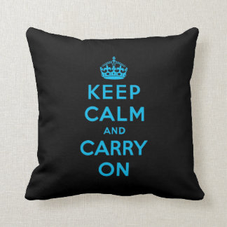 keep calm and carry on -  Black and blue Throw Pillow