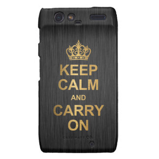 Keep Calm and Carry On - Black and Gold Droid RAZR Covers