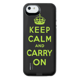 keep calm and carry on -  Black and green iPhone SE/5/5s Battery Case