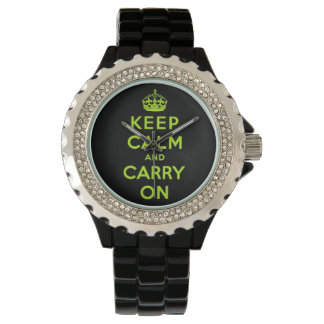keep calm and carry on -  Black and green neon Wristwatch