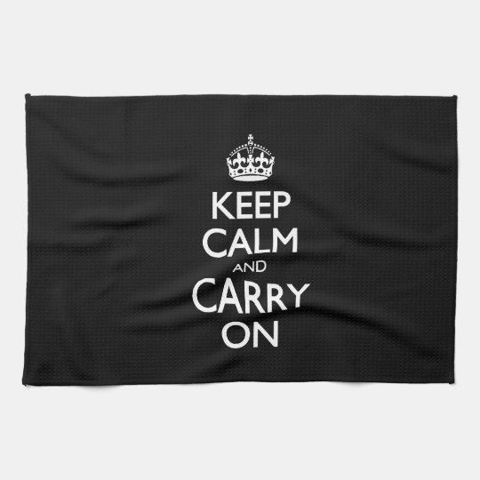 Keep calm and carry on black and white design kitchen for How to keep white towels white