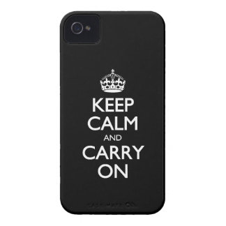 Keep Calm And Carry On - Black And White Pattern iPhone 4 Covers