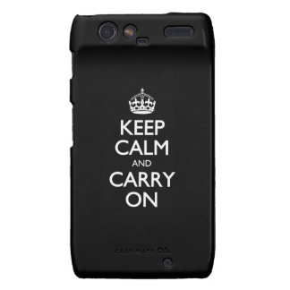 Keep Calm And Carry On - Black And White Pattern Droid RAZR Cover