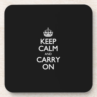 Keep Calm And Carry On - Black And White Pattern Drink Coasters