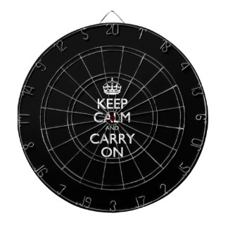 Keep Calm And Carry On - Black And White Pattern Dartboard