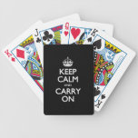 Keep Calm And Carry On - Black And White Pattern Playing Cards