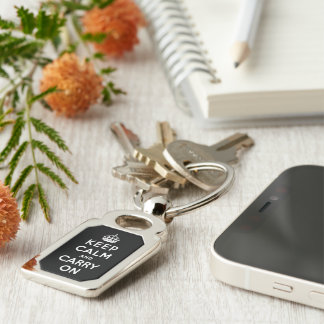 keep calm and carry on -  Black and white Silver-Colored Rectangular Metal Keychain