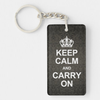 Keep calm and carry on - black damask keychain