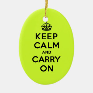 Keep Calm and Carry On Black on Chartreuse Ceramic Ornament