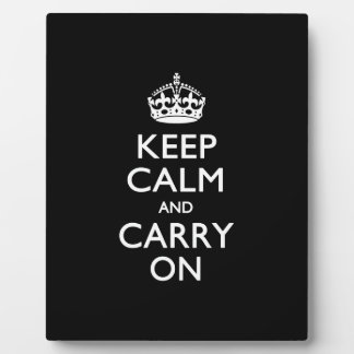 Keep Calm And Carry On Black Plaque