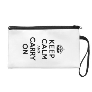 Keep Calm and Carry On Black Text Wristlet