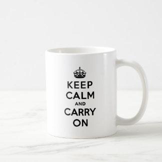 Keep Calm and Carry On Black Text Coffee Mug
