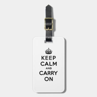 Keep Calm and Carry On Black Text Tag For Luggage