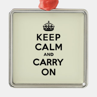 Keep Calm and Carry On Black Text on Vanilla Metal Ornament