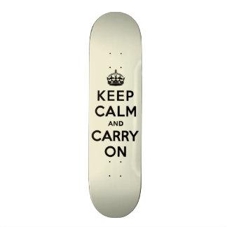 Keep Calm and Carry On Black Text on Vanilla Skateboard Deck