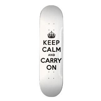 Keep Calm and Carry On Black Text Skate Decks
