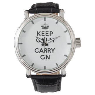 Keep Calm and Carry On Black Text Wrist Watch