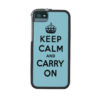 keep calm and carry on -  Blue and black iPhone 5/5S Case