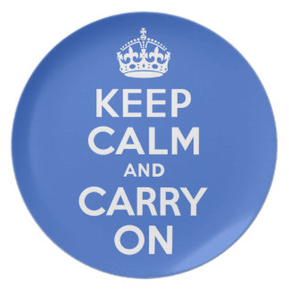 Keep Calm And Carry On Blue and White Best Price Melamine Plate