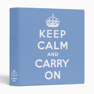 keep calm and carry on - Blue and white Binder