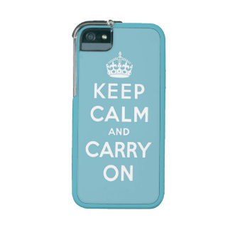 keep calm and carry on - Blue and white iPhone 5 Case