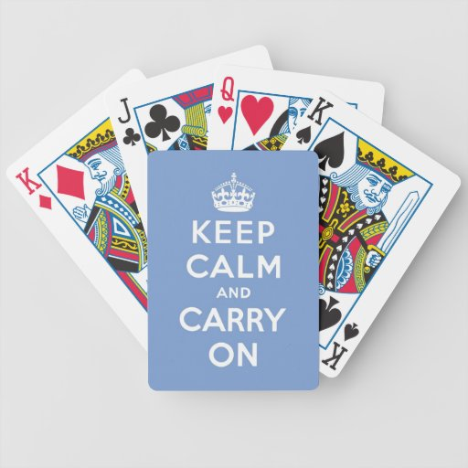 keep calm and carry on blue and white poker deck