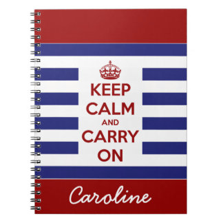 Keep Calm and Carry On Blue and White Stripe Notebook