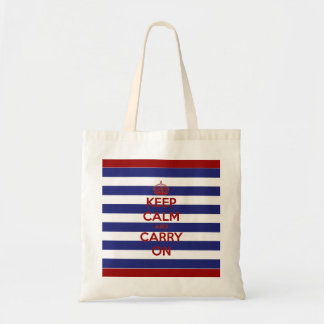 Keep Calm and Carry On Blue and White Stripes Tote Bag