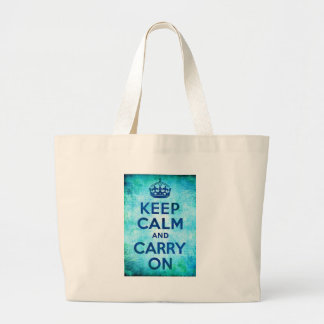 Keep Calm and Carry On Blue Grunge Digital Art Large Tote Bag