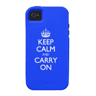 Keep Calm And Carry On - Blue Light Pattern iPhone 4/4S Case