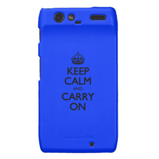 Keep Calm And Carry On Blue Light Pattern Motorola Droid RAZR Covers