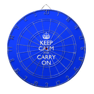 Keep Calm And Carry On - Blue Light Pattern Dart Board