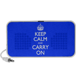 Keep Calm And Carry On - Blue Light Pattern Portable Speakers
