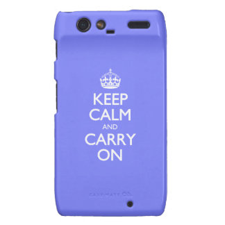 Keep Calm And Carry On. Blue Violet Orchid Pattern Droid RAZR Cases