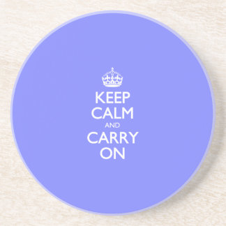 Keep Calm And Carry On. Blue Violet Orchid Pattern Beverage Coasters