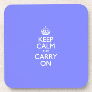 Keep Calm And Carry On. Blue Violet Orchid Pattern Beverage Coaster