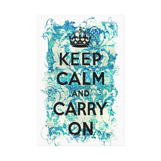 Keep Calm and Carry On Blue Wallpaper Damask Canvas Print
