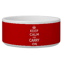 Dog Bowl with Keep Calm and Carry On (Red) design