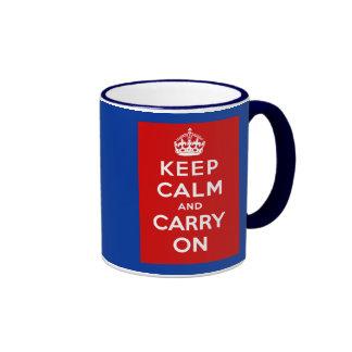 Keep Calm and Carry On British Poster on T shirts Mug