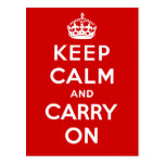 Keep Calm and Carry On British Poster on T shirts Postcard