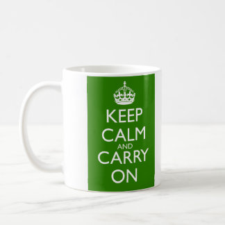 Keep Calm and Carry On British Racing Green Classic White Coffee Mug