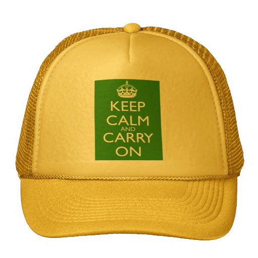 Keep Calm and Carry On British Racing Green Trucker Hat