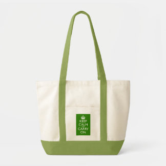 Keep Calm and Carry On British Racing Green Impulse Tote Bag