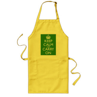 Keep Calm and Carry On British Racing Green Long Apron
