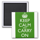 Keep Calm and Carry On British Racing Green Refrigerator Magnet