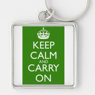 Keep Calm and Carry On British Racing Green Silver-Colored Square Keychain