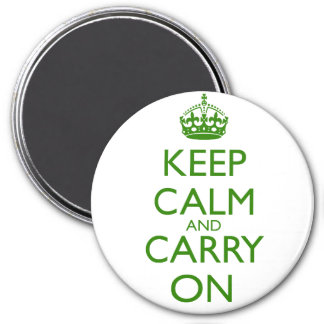 Keep Calm and Carry On British Racing Green Text 3 Inch Round Magnet